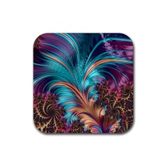 Feather Fractal Artistic Design Rubber Coaster (square)
