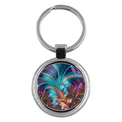 Feather Fractal Artistic Design Key Chains (Round)