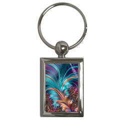 Feather Fractal Artistic Design Key Chains (rectangle)