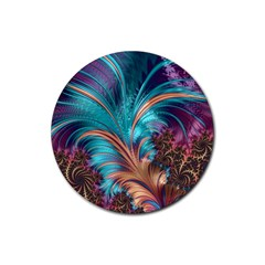 Feather Fractal Artistic Design Rubber Round Coaster (4 pack)