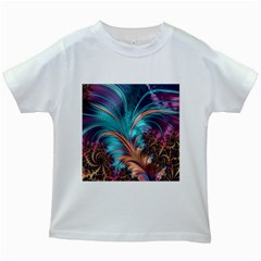 Feather Fractal Artistic Design Kids White T-Shirts