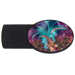 Feather Fractal Artistic Design USB Flash Drive Oval (2 GB)