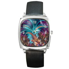 Feather Fractal Artistic Design Square Metal Watch