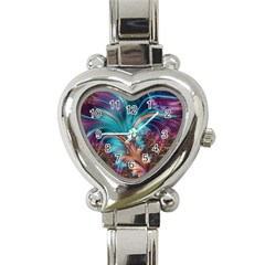 Feather Fractal Artistic Design Heart Italian Charm Watch