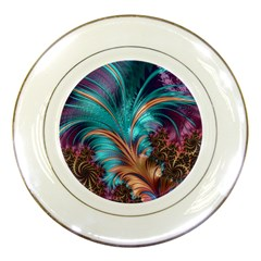 Feather Fractal Artistic Design Porcelain Plates