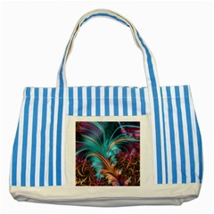 Feather Fractal Artistic Design Striped Blue Tote Bag