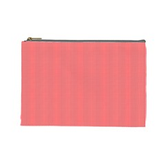 Christmas Red Velvet Mini Gingham Check Plaid Cosmetic Bag (Large)