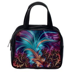 Feather Fractal Artistic Design Classic Handbags (One Side)