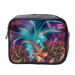 Feather Fractal Artistic Design Mini Toiletries Bag 2 Side