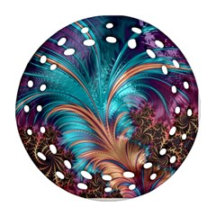 Feather Fractal Artistic Design Round Filigree Ornament (two Sides)