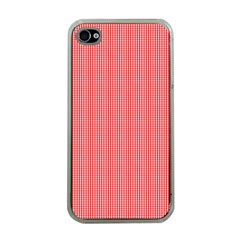 Christmas Red Velvet Mini Gingham Check Plaid Apple iPhone 4 Case (Clear)