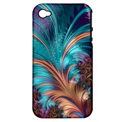 Feather Fractal Artistic Design Apple Iphone 4/4s Hardshell Case (pc+silicone)