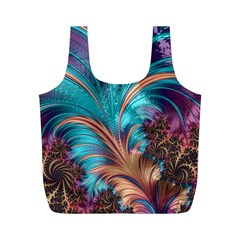 Feather Fractal Artistic Design Full Print Recycle Bags (M)