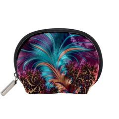 Feather Fractal Artistic Design Accessory Pouches (small)