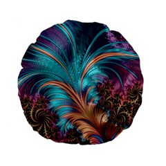 Feather Fractal Artistic Design Standard 15  Premium Flano Round Cushions