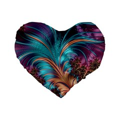 Feather Fractal Artistic Design Standard 16  Premium Flano Heart Shape Cushions