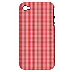 Christmas Red Velvet Mini Gingham Check Plaid Apple iPhone 4/4S Hardshell Case (PC+Silicone)