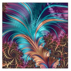 Feather Fractal Artistic Design Large Satin Scarf (square)