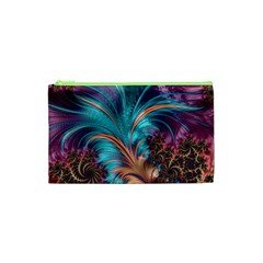 Feather Fractal Artistic Design Cosmetic Bag (XS)