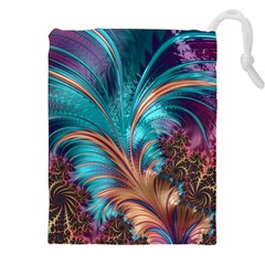 Feather Fractal Artistic Design Drawstring Pouches (xxl)