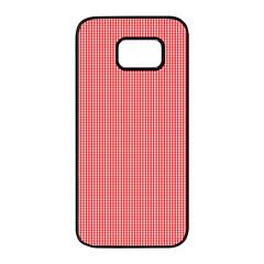Christmas Red Velvet Mini Gingham Check Plaid Samsung Galaxy S7 Edge Black Seamless Case