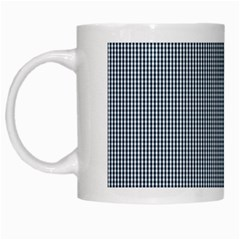 Silent Night Blue Mini Gingham Check Plaid White Mugs