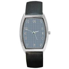 Silent Night Blue Mini Gingham Check Plaid Barrel Style Metal Watch