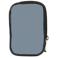 Silent Night Blue Mini Gingham Check Plaid Compact Camera Cases
