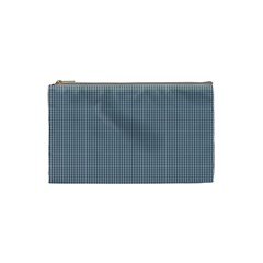 Silent Night Blue Mini Gingham Check Plaid Cosmetic Bag (Small)