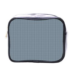 Silent Night Blue Mini Gingham Check Plaid Mini Toiletries Bags