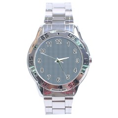 Silent Night Blue Mini Gingham Check Plaid Stainless Steel Analogue Watch