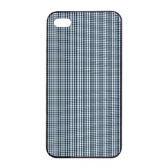 Silent Night Blue Mini Gingham Check Plaid Apple iPhone 4/4s Seamless Case (Black)