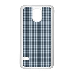 Silent Night Blue Mini Gingham Check Plaid Samsung Galaxy S5 Case (White)