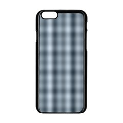 Silent Night Blue Mini Gingham Check Plaid Apple iPhone 6/6S Black Enamel Case