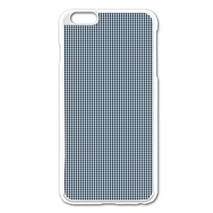Silent Night Blue Mini Gingham Check Plaid Apple iPhone 6 Plus/6S Plus Enamel White Case