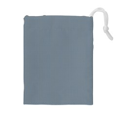 Silent Night Blue Mini Gingham Check Plaid Drawstring Pouches (Extra Large)