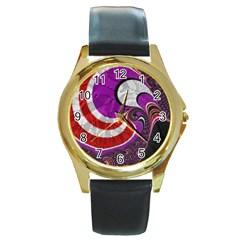 Fractal Art Red Design Pattern Round Gold Metal Watch