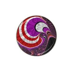 Fractal Art Red Design Pattern Hat Clip Ball Marker (4 Pack)