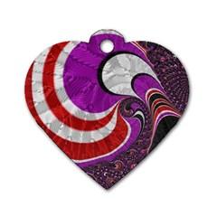 Fractal Art Red Design Pattern Dog Tag Heart (one Side)