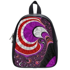 Fractal Art Red Design Pattern School Bags (Small)