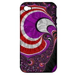 Fractal Art Red Design Pattern Apple iPhone 4/4S Hardshell Case (PC+Silicone)