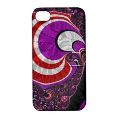 Fractal Art Red Design Pattern Apple iPhone 4/4S Hardshell Case with Stand