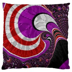 Fractal Art Red Design Pattern Large Flano Cushion Case (Two Sides)