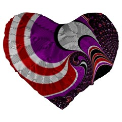 Fractal Art Red Design Pattern Large 19  Premium Flano Heart Shape Cushions