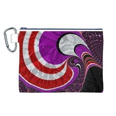 Fractal Art Red Design Pattern Canvas Cosmetic Bag (L)