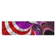 Fractal Art Red Design Pattern Satin Scarf (oblong)