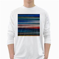 Background Horizontal Lines White Long Sleeve T Shirts