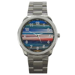 Background Horizontal Lines Sport Metal Watch
