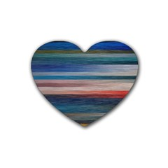 Background Horizontal Lines Rubber Coaster (heart)