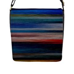 Background Horizontal Lines Flap Messenger Bag (L)